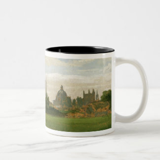 A View of Oxford (oil on millboard) Two-Tone Coffee Mug