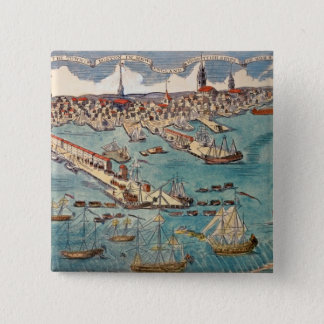 A View of Part of the Town of Boston 15 Cm Square Badge