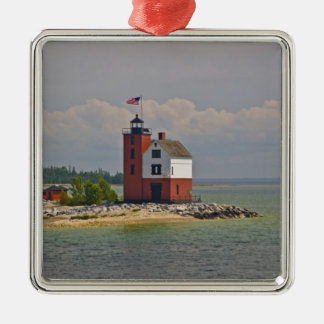 A view of Round Island Light Station. Christmas Ornament