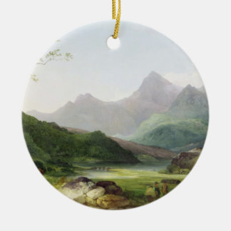 A View of Snowdon from Capel Curig, 1787 (oil on c Round Ceramic Decoration