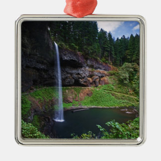 A view of South Falls in Silver Falls State Park Silver-Colored Square Decoration