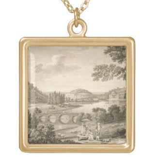 A view of Stour Head in Wiltshire (engraving) Gold Plated Necklace