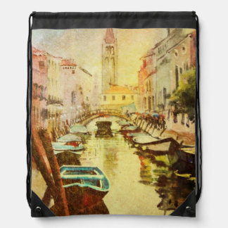 A View Of The Canal With Boats And Buildings Drawstring Bag