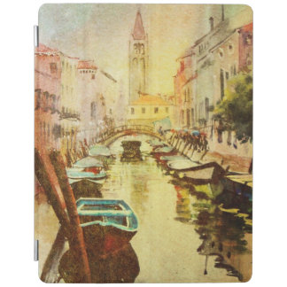 A View Of The Canal With Boats And Buildings iPad Cover