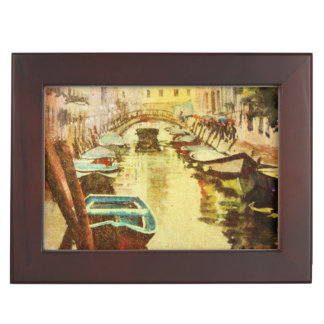 A View Of The Canal With Boats And Buildings Keepsake Box