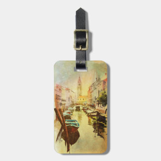 A View Of The Canal With Boats And Buildings Luggage Tag