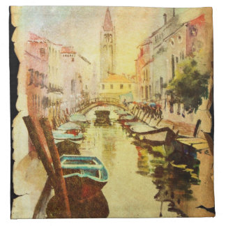 A View Of The Canal With Boats And Buildings Napkin