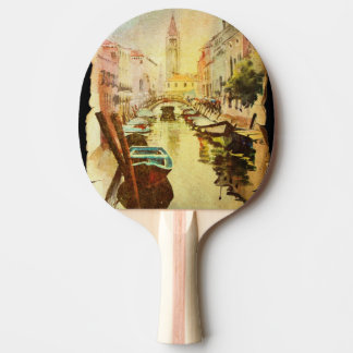A View Of The Canal With Boats And Buildings Ping Pong Paddle