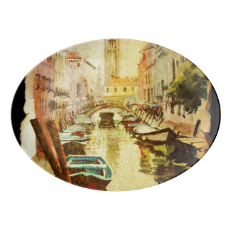 A View Of The Canal With Boats And Buildings Porcelain Serving Platter