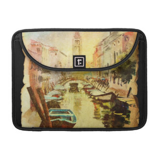A View Of The Canal With Boats And Buildings Sleeve For MacBook Pro