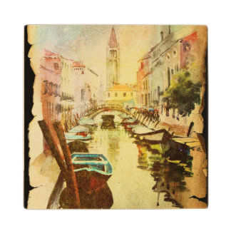 A View Of The Canal With Boats And Buildings Wood Coaster