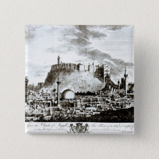 A view of the city and castle of Aleppo, Syria 15 Cm Square Badge