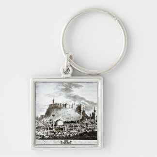 A view of the city and castle of Aleppo, Syria Silver-Colored Square Key Ring