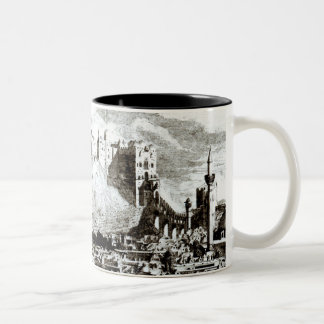 A view of the city and castle of Aleppo, Syria Two-Tone Coffee Mug