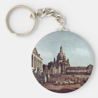 A View Of The Neumarkt In Dresden Basic Round Button Key Ring