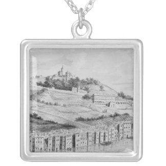 A view of the port of the city of Lyons Silver Plated Necklace