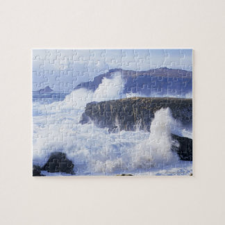 a view of the waves crashing against rocks puzzle