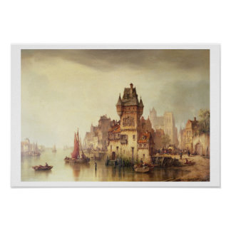 A View on the River, Dordrecht, 1879 (oil on canva Poster