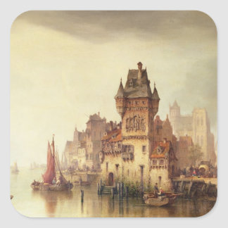 A View on the River, Dordrecht, 1879 (oil on canva Square Sticker