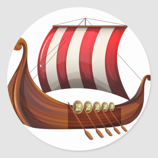 A viking's ship classic round sticker
