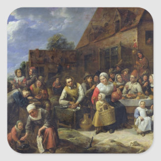 A Village Banquet Square Sticker