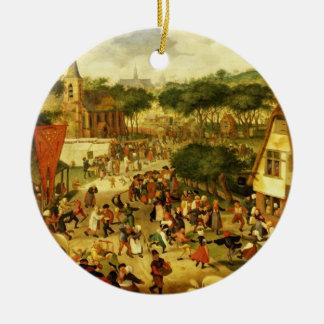 A Village Fair Round Ceramic Decoration