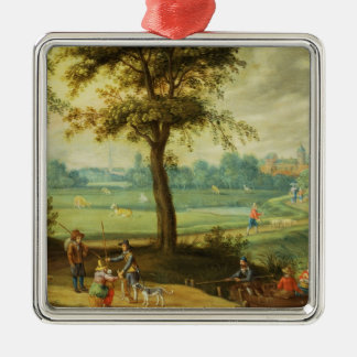 A Village Landscape by a River Christmas Ornament