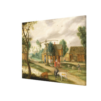 A village landscape canvas print