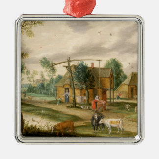 A village landscape christmas ornament