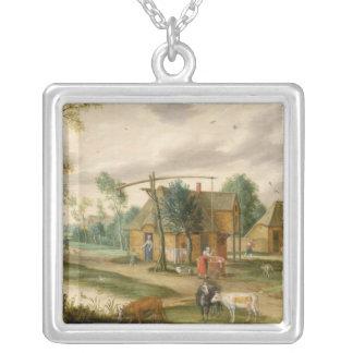 A village landscape silver plated necklace