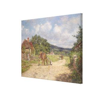 A Village Scene (oil on canvas) Canvas Print