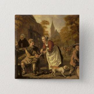 A Village Scene with a Cobbler, c.1650 15 Cm Square Badge