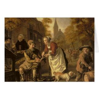 A Village Scene with a Cobbler, c.1650 Card