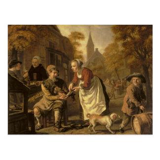 A Village Scene with a Cobbler, c.1650 Postcard