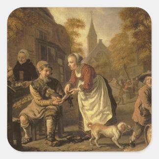 A Village Scene with a Cobbler, c.1650 Square Sticker
