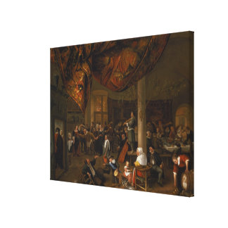 A Village Wedding Feast with Revellers Stretched Canvas Print