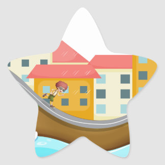 A  village with three childrens running along the star sticker