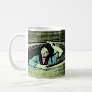A Vintage Japanese Geisha Peeking Through a Blind Basic White Mug