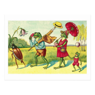 A vintage public domain illustration of frogs with postcard