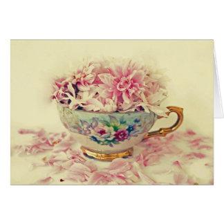 A Vintage Teacup of Flowers Note Card
