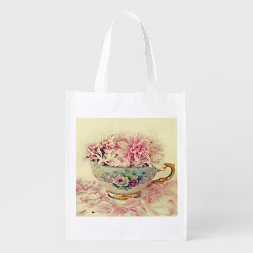 A Vintage Teacup of Flowers Grocery Bags