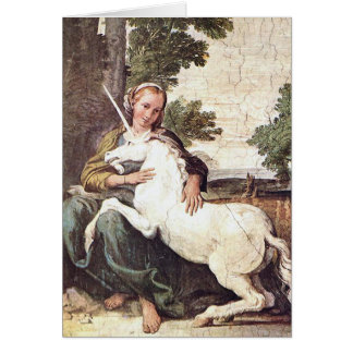 A Virgin with a Unicorn by Domenico Zampieri Greeting Card