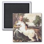 A Virgin with a Unicorn by Domenico Zampieri Square Magnet