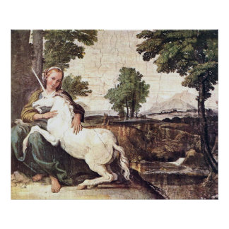 A Virgin with a Unicorn by Domenico Zampieri Print