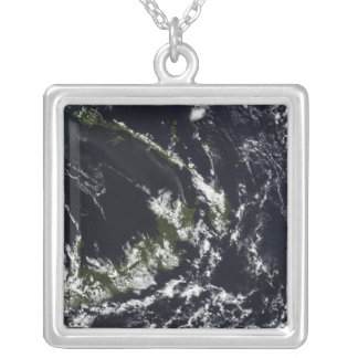 A volcanic plume from the Rabaul caldera Silver Plated Necklace
