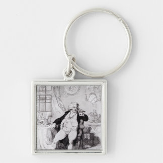 A Voluptuary under the Horrors of Digestion Silver-Colored Square Key Ring
