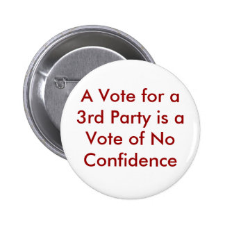 A Vote for a 3rd Party is a Vote of No Confidence 6 Cm Round Badge