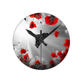A Vulcan Poppy red Round Clock