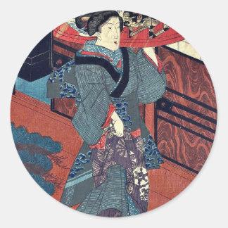 A waitress carrying a tray by Utagawa Kunisada Stickers