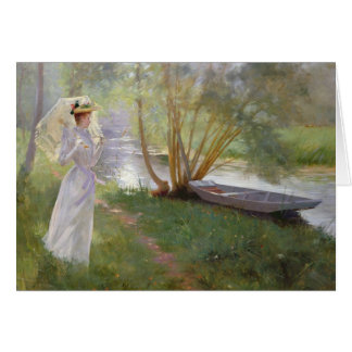 A walk by the river, 1890 card